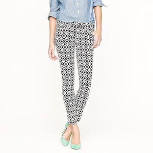 J. Crew TALL Toothpick Geometric Print Jeans